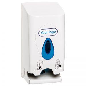 Modular papirdispenser til 2 ruller toiletpapir med logo