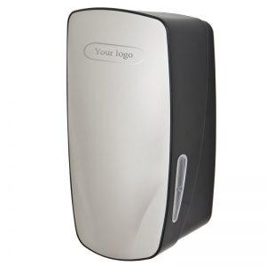 Mercury dispenser til toiletpapir i ark sort plast og rustfri stål med logo
