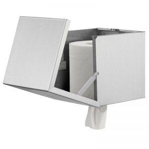 Qbic centertræk papirdispenser i rustfri stål. åben