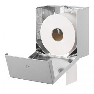 Lille Qbic jumbo dispenser i rustfri stål til toiletruller, åben