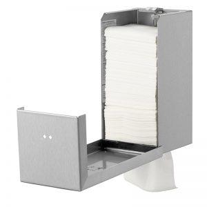 Qbic dispenser i rustfri stål til toiletpapir i ark, åben