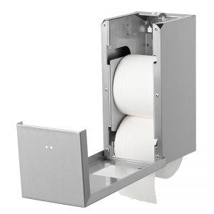 Qbic papirdispenser i rustfri stål til to ruller toiletpapir, åben