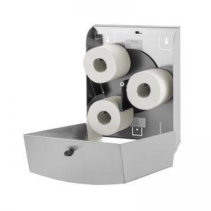 Wings dispenser i rustfri stål til 3 ruller toiletpapir, åben