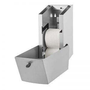Wings papirdispenser i rustfri stål til to ruller toiletpapir, åben